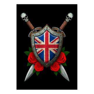 Worn British Flag Shield and Swords with Roses Business Card