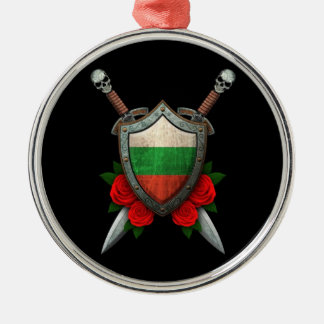 Worn Bulgarian Flag Shield and Swords with Roses Ornament
