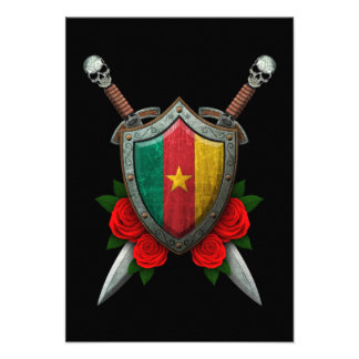 Worn Cameroon Flag Shield and Swords with Roses Custom Invitations