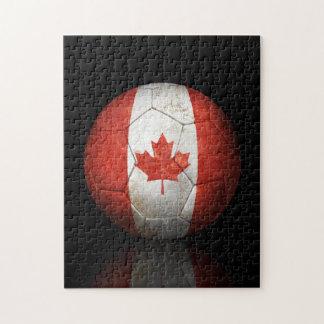 Worn Canadian Flag Football Soccer Ball Jigsaw Puzzle
