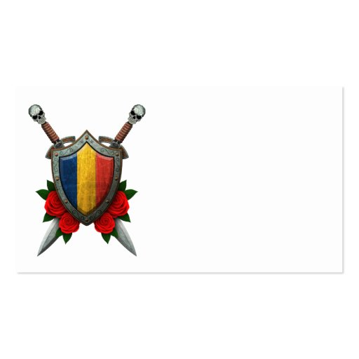 Worn Chad Flag Shield and Swords with Roses Business Card Templates