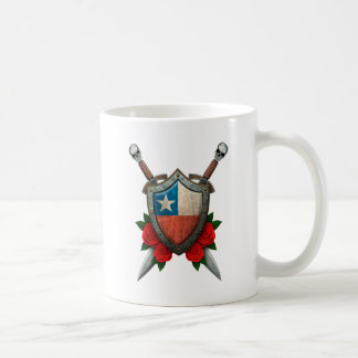 Worn Chilean Flag Shield and Swords with Roses Coffee Mugs