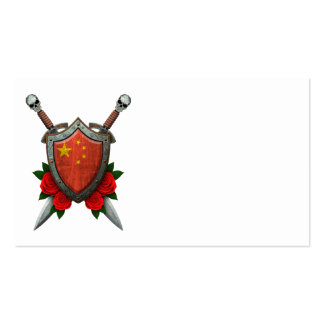 Worn Chinese Flag Shield and Swords with Roses Business Card Templates