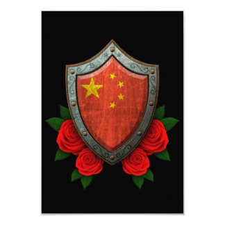 Worn Chinese Flag Shield with Red Roses Announcement