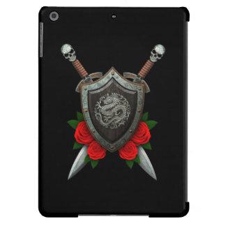 Worn Circular Chinese Dragon Shield and Swords iPad Air Case