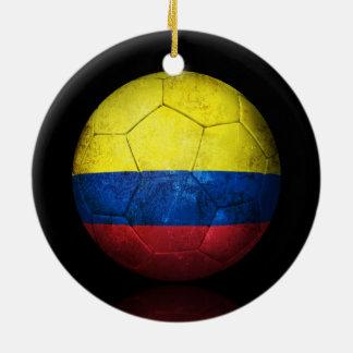 Worn Colombian Flag Football Soccer Ball Christmas Ornament