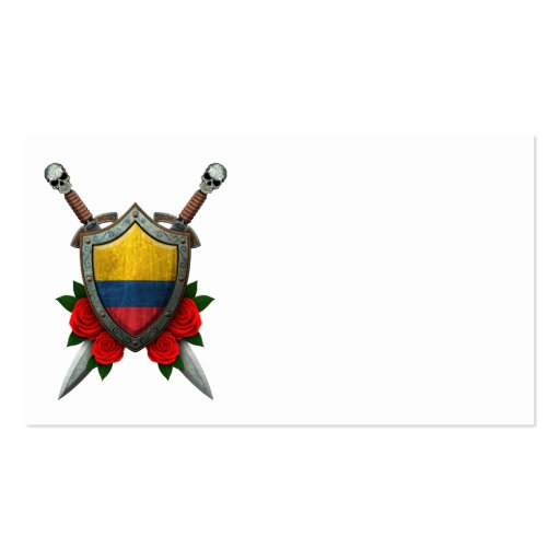 Worn Colombian Flag Shield and Swords with Roses Business Cards