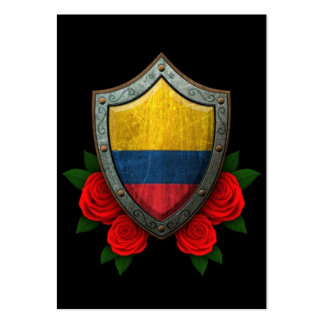 Worn Colombian Flag Shield with Red Roses Business Cards