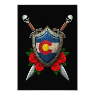 Worn Colorado Flag Shield and Swords with Roses Custom Invites