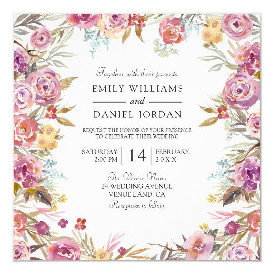 Worn Country Pink Floral Wedding Invitation