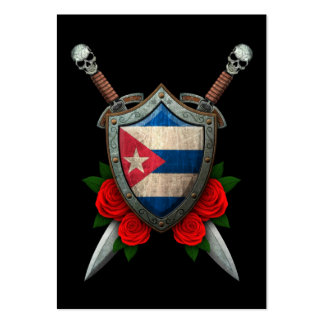 Worn Cuban Flag Shield and Swords with Roses Large Business Cards (Pack Of 100)