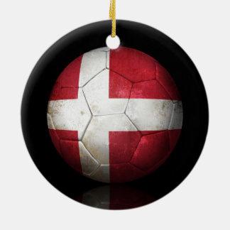 Worn Danish Flag Football Soccer Ball Christmas Ornament