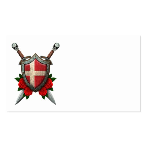 Worn Danish Flag Shield and Swords with Roses Business Card