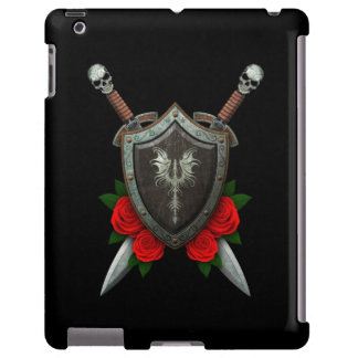 Worn Decorated Dragon Shield and Swords with Roses