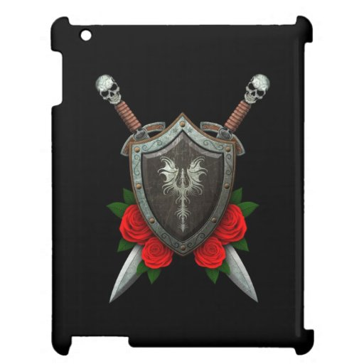 Worn Decorated Dragon Shield and Swords with Roses iPad Cover