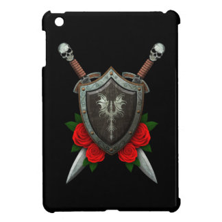 Worn Decorated Dragon Shield and Swords with Roses iPad Mini Covers
