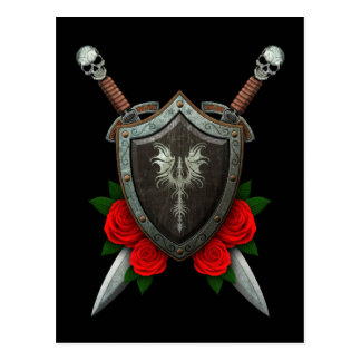 Worn Decorated Dragon Shield and Swords with Roses Postcard