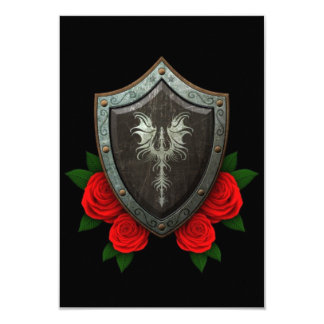 Worn Decorated Dragon Shield with Red Roses Personalized Invites