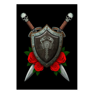 Worn Decorated Scorpion Shield and Swords with Ros Large Business Cards (Pack Of 100)