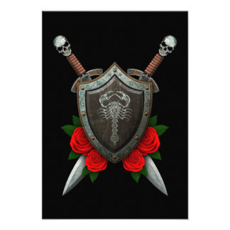 Worn Decorated Scorpion Shield and Swords with Ros Announcement