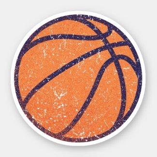 Worn, distressed grunge basketball sticker
