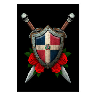 Worn Dominican Republic Flag Shield and Swords Large Business Cards (Pack Of 100)