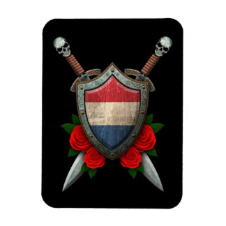 Worn Dutch Flag Shield and Swords with Roses Flexible Magnets