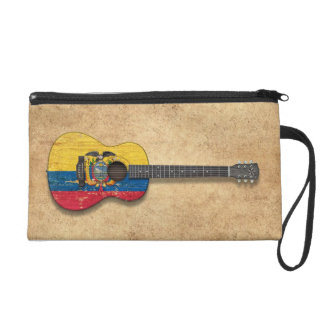 Worn Ecuadorian Flag Acoustic Guitar Wristlet Purses
