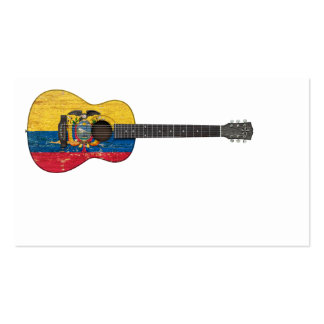 Worn Ecuadorian Flag Acoustic Guitar Pack Of Standard Business Cards