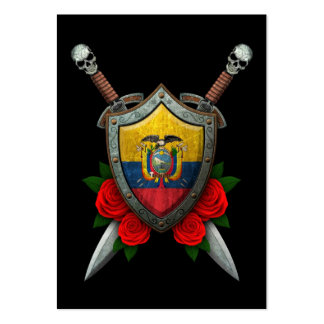 Worn Ecuadorian Flag Shield and Swords with Roses Pack Of Chubby Business Cards