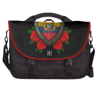 Worn Ecuadorian Flag Shield with Red Roses Bag For Laptop