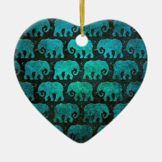 Worn Elephant Silhouettes Pattern, blue Christmas Ornament