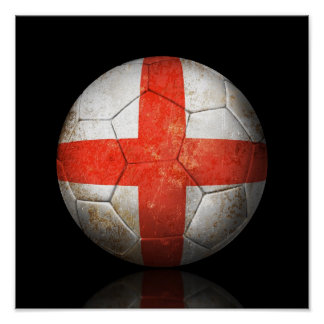 Worn English Flag Football Soccer Ball Poster