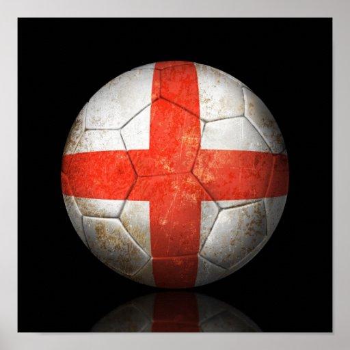 Worn English Flag Football Soccer Ball Poster