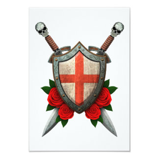 Worn English Flag Shield and Swords with Roses Personalized Invitation