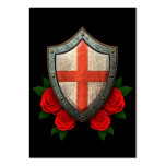 Worn English Flag Shield with Red Roses