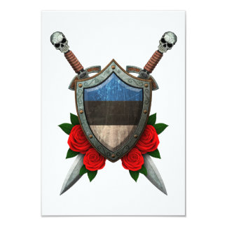 Worn Estonian Flag Shield and Swords with Roses Invitations