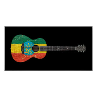 Worn Ethiopian Flag Acoustic Guitar, black Poster