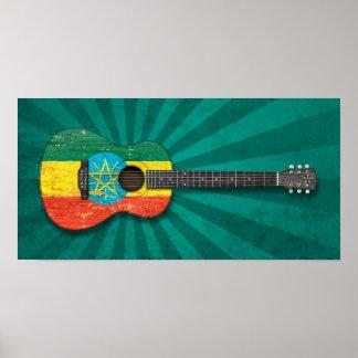 Worn Ethiopian Flag Acoustic Guitar teal Poster