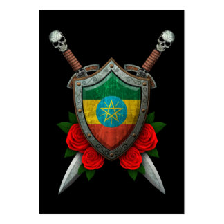 Worn Ethiopian Flag Shield and Swords with Roses Business Card Templates