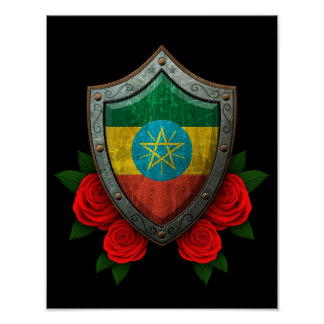 Worn Ethiopian Flag Shield with Red Roses Poster