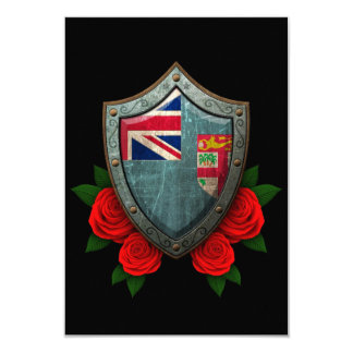 Worn Fiji Flag Shield with Red Roses 9 Cm X 13 Cm Invitation Card