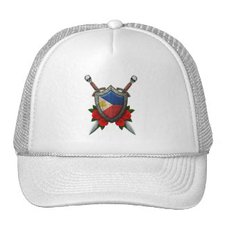 Worn Filipino Flag Shield and Swords with Roses Mesh Hat