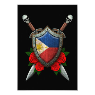 Worn Filipino Flag Shield and Swords with Roses Personalized Invite