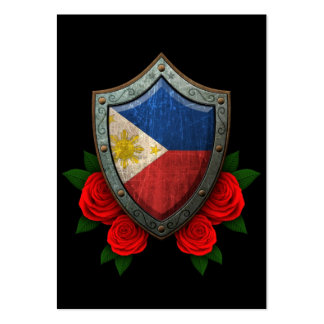 Worn Filipino Flag Shield with Red Roses Large Business Cards (Pack Of 100)