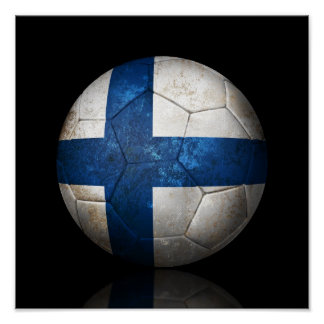 Worn Finnish Flag Football Soccer Ball Poster