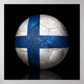 Worn Finnish Flag Football Soccer Ball Poster