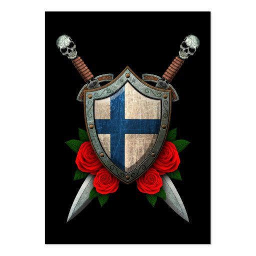 Worn Finnish Flag Shield and Swords with Roses Business Card Template