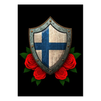 Worn Finnish Flag Shield with Red Roses Large Business Cards (Pack Of 100)