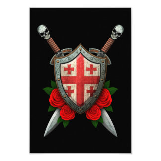 Worn Georgian Flag Shield and Swords with Roses Personalized Announcements